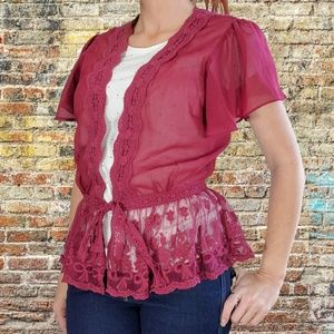 A'reve maroon sheer lace front tie blouse top